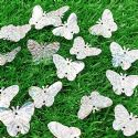 Sequins, Silver colour, 19mm x 23mm, 57 pieces, 5g, Butterfly shape, Sequins are shiny, [CZP613]